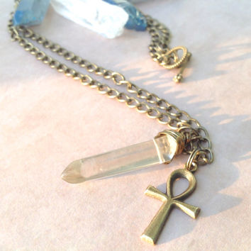 Crystal Quartz Ankh Necklace | Ankh Charm | Antique Gold Chain | Egyptian Necklace | Ankh Pendant | Egypt Isis Cleopatra | Key of the Nile