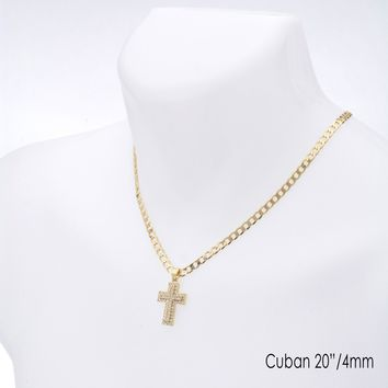 "Jewelry Kay style Men's Hip Hop Iced Out Cross Pendant 20"" / 22"" Cuban Chain Necklace Set CP 204 G"