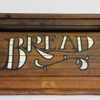 vintage bread box // wood bread box // roll top bread box // large bread box // kitchen storage // bread keeper // country kitchen decor