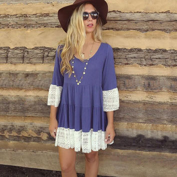 Summer Cosy Loose Lace Dress For Women +Necklace