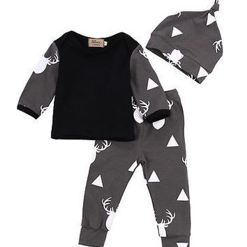 Cotton Deer Children Baby O-Neck Long sleeve T Shirt-Hat-Pants Set