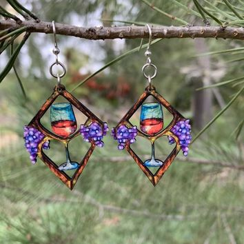 Heart in Wine Earrings