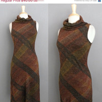 Extended STOREWIDE SALE Vintage 70s Byer Bombshell Earthen Plaid Wiggle Sheath Cowl Neck Dress - VTG 1970s Mod Column Midi