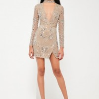 Missguided - Peace + Love Silver Choker Neck Embellished Dress