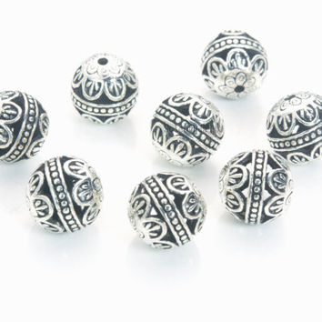 filigree metal beads supplies - Tibetan silver alloy beads for jewelry making - pattern metal jewelry beads for bracelet - round beads-20pcs