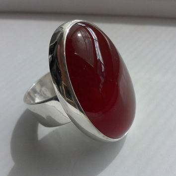 Large Oval  Red Carnelian Silver Ring  Hand made with a red gemstone using as Statement, Cocktail or Fashion Jewelry