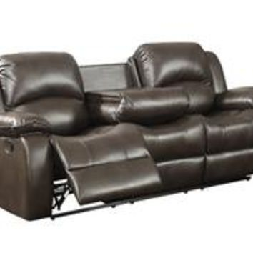 Samara Transitional Reclining Sofa with Drop Down Table