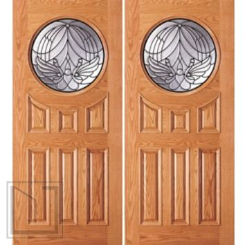 Entry Mahogany Wood 6 Panel Moulding Circle Modern Double Door