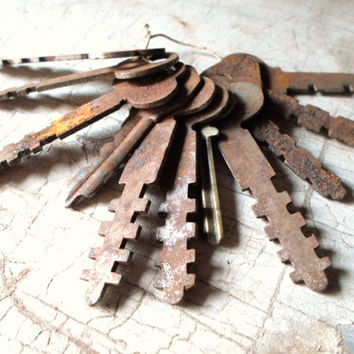 Vintage Skeleton Keys, Antique Skeleton Keys, Flat Keys, 1800s, Skeleton Key, Old Keys, Rusty Keys, 11 Pcs, Props, All Vintage Man