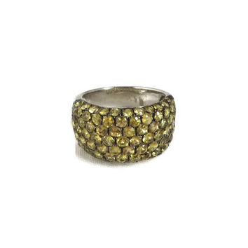 Sterling Silver Citrine Cocktail Ring, Vintage Wide Band Ring, Size 7