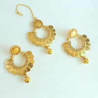Gold Coin Earrings Tikka Jewelry Set/South Indian Earrings/Ethnic Temple Jewelry