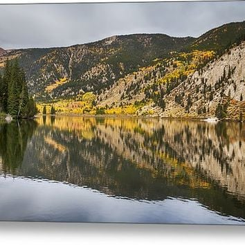 Colorado Autumn Fishing Lake Reflections Metal Print