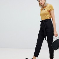 Pull&Bear Paper Bag Waist Relaxed Pants at asos.com