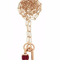 """Total Baby Baguette in Rose Gold with Rubies on 16"""" Rose Gold Square Link Chain"""