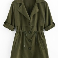 Waist Drawstring Trench Coat