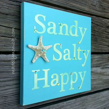 ocean decor beach sign sandy salty happy wooden rustic starfish wall plaque - Ocean Decor
