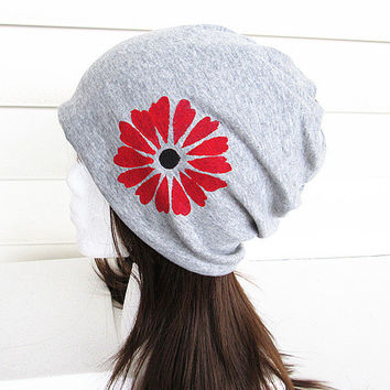 Women Oversized Beanie Hat-Grey-Baggy Hat- Head Wrap- Slouch Cap-Hippie Hat-Unisex