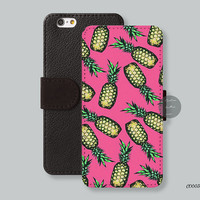 iPhone 6 case Card slot Wallet iPhone 6 plus case, Leather Wallet iPhone 5s case Pink pineapple iPhone 5c case - C00036