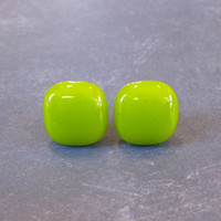 Post Lime Green Earrings, Hypoallergenic Earrings, Fashion Jewelry - Butterfield - 1932 -3