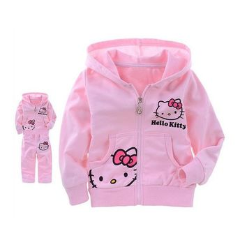Clearance Sale Hello Kitty Girls Clothes Leisure Clothing Sets 2 Piece Set Autumn/Winter Clothes Coat For Girls