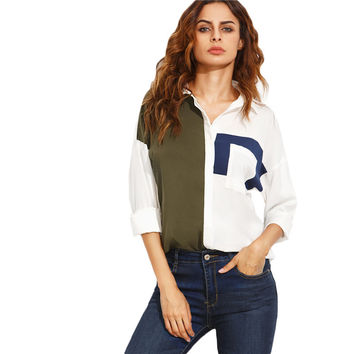 Block Lapel with Pocket Long Sleeve Top