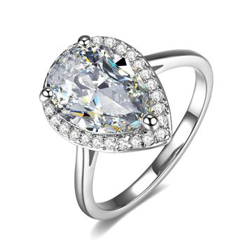 ON SALE - Fiona 4CT Pear Cut Halo IOBI Simulated Diamond Ring
