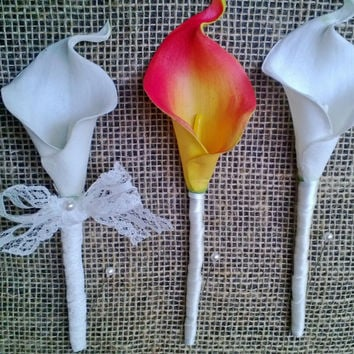 3 Piece Real Touch Calla Lily Boutonniere & Corsage Vintage Style Lace Rustic Wedding Set
