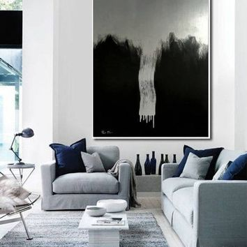 Large Silver Painting on Canvas Minimalist Art Painting Black Painting Original Painting Oil Painting Original Large Oversize Painting Art