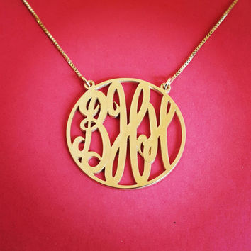 Solid Gold Monogram Necklace Monagram Necklace Monogram Gold Monogrm Necklace Gift For a Womans Jewelry Gold