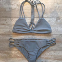 Gray Bandage Bikini Set Swimsuit Beach Bathing Suits