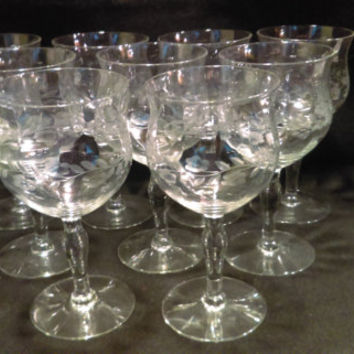 Set of 9 Etched Crystal Wine Glasses  (1182)