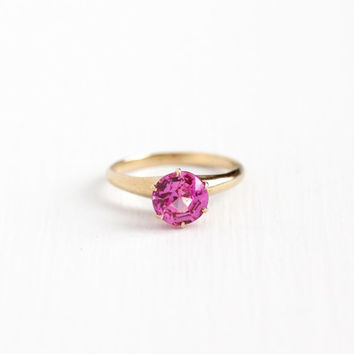 Vintage 10k Yellow Gold Created Pink Sapphire Ring -  Size 6 1/2 Bright Pink Solitaire Gem Alternative Bohemian Engagement Fine Jewelry