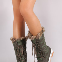 Quilted Faux Fur Cuff Lace Up Mid Calf Boots