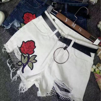 Embroidery Rose Fashion Mesh Distressed Denim Shorts
