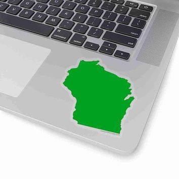 Wisconsin State Shape Sticker GREEN