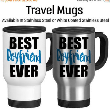 Travel Mug, Best Boyfriend Ever Birthday For Him Valentine Gift For Guy Anniversary Coffee, Gift Idea, Stainless Steel 14 oz Coffee Cup