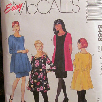 SALE Uncut McCall's Sewing Pattern, 8468! 12-14-16 SmlMed/Lrg/Women's/Misses/Maternity Tops/Skirts/Leggings/Skirts/Blouses/Stretch Knits