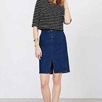 BDG Denim Pencil Midi Skirt- Blue