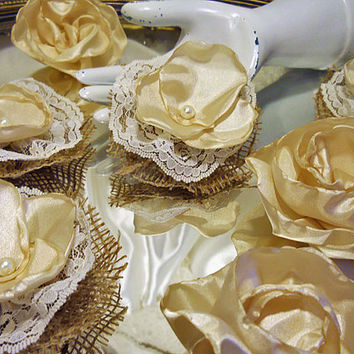 Set of 10, Burlap, Beige Silk & Ivory Lace Flowers for weddings, diy bouquet making, wedding decor, scrapbooking, gifts, crafts