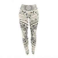 "Famenxt ""Boho Folk Mandala"" Beige Black Digital Yoga Leggings"