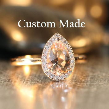 Custom Made Halo Diamond and 9x6mm Pear Shaped White Topaz Engagement Ring in 14k Yellow Gold, Ring Size 7.5 (First Payment)