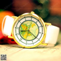 Mens watches World Maps Watch Unisex Maps wristwatch Vintage Women wrist watch