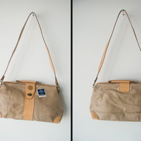 Vintage 70s Roberto Roma Genuine Leather Beige Purse Tote Bag Carpet Bag Style With Tag Still Attached