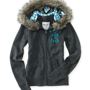 Aeropostale Womens Aero Stacked Patch Hoodie Sweatshirt
