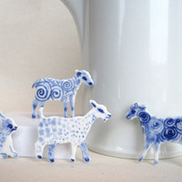 Goat  Handpainted Delft porcelain Brooch by HarrietDamave on Etsy