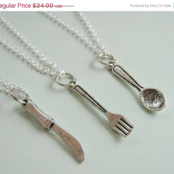 Summer Sale Save15% 3 Best Friends Cutlery Fork Knife Spoon Necklaces BFF