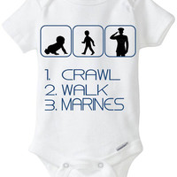 1. Crawl 2. Walk 3. Marines Silhouette - New Baby Gift: Gerber Onesuit brandbody suit - for a new mom or dad enlisted in the US Marine Corp