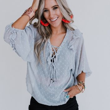 One Chance Pom Pom Ruffle Top - Light Gray
