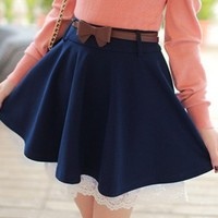 Dark Blue Lace Hem Knit Material Skirt Women Dress @MF7800dbl
