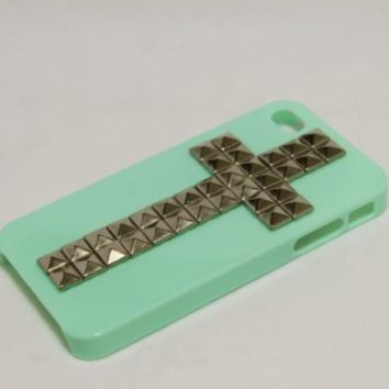 Studded Cross Iphone 4 Case Ultra Thin Mint Green with Sliver Pyramid Studs Stud Cool:Amazon:Cell Phones & Accessories